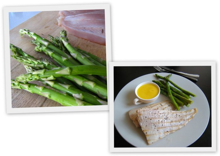 Angelfish with steamed asparagus and beurre blanc