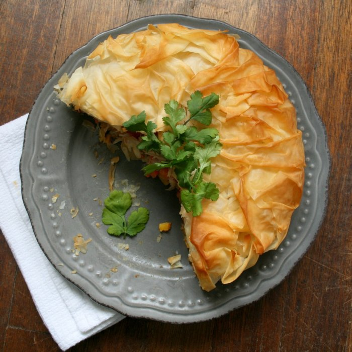 Phyllo pie filled with roasted vegetables.