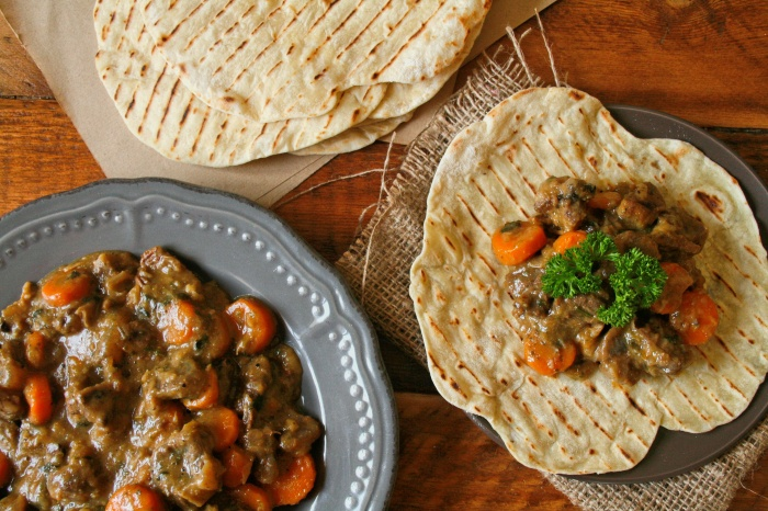 Beef stew recipe with flatbreads.