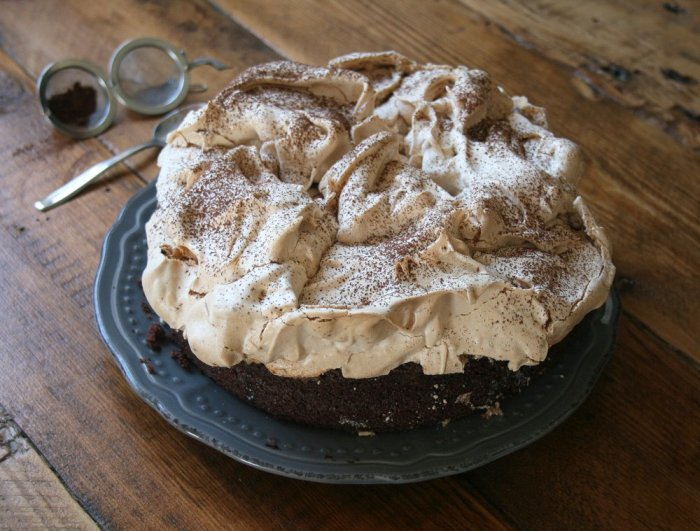 Double chocolate meringue cake recipe