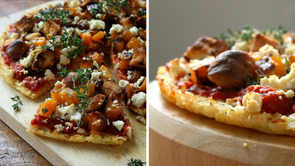 Rice pizza base recipe with butternut