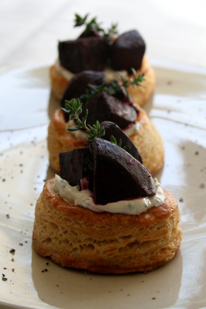 Beetroot stacks with cream cheese