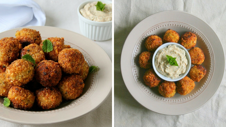 Home made chickpea falafel with yoghurt dipping sauce.