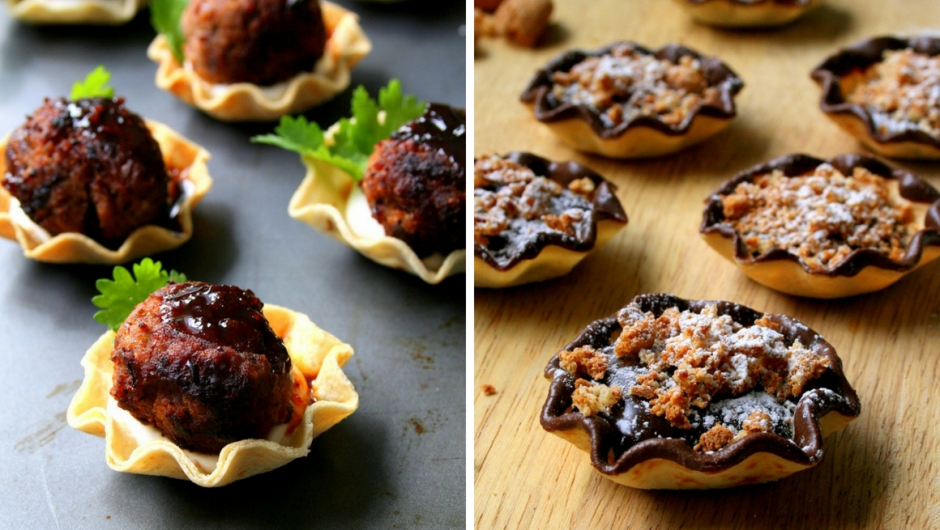Chilli con carne meatballs and chocolate ganache tart filling.