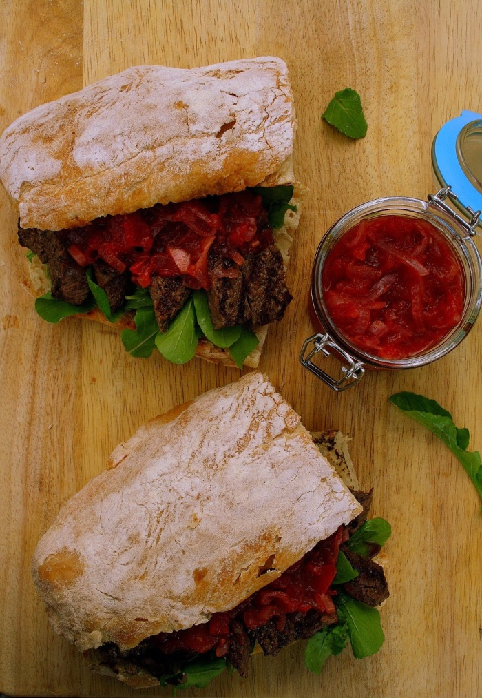 Steak sandwich recipe with relish.