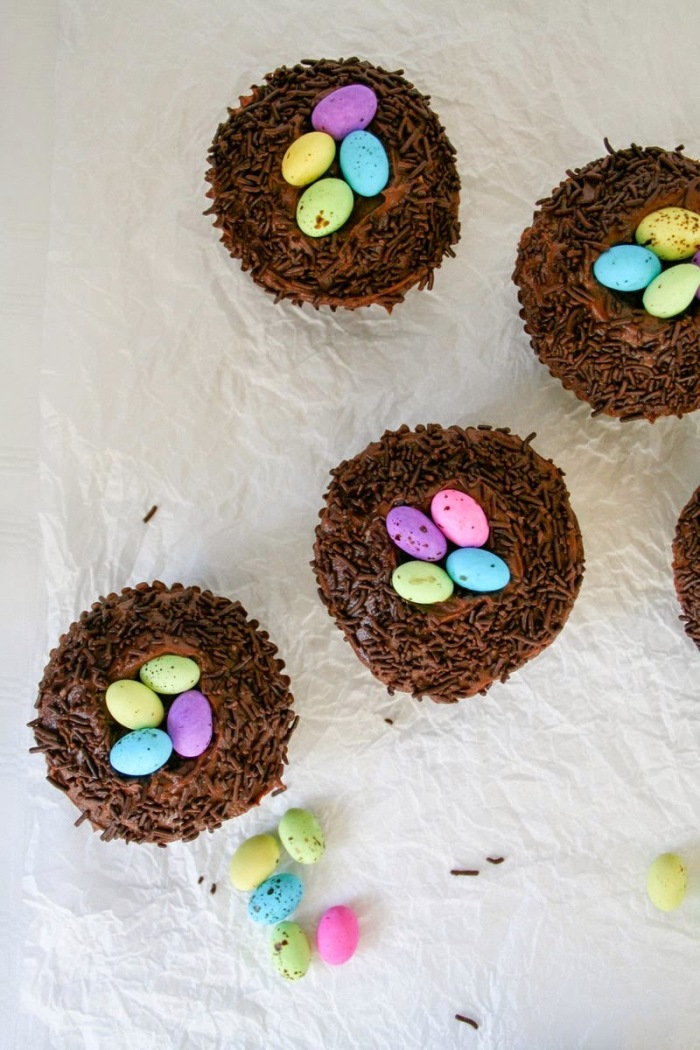 Speckled egg chocolate cupcakes.