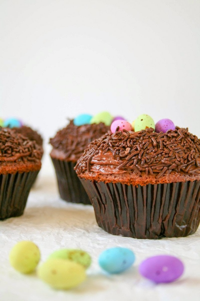 Chocolate Easter cupcakes.