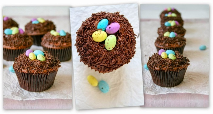 Chocolate Easter nest cupcakes.