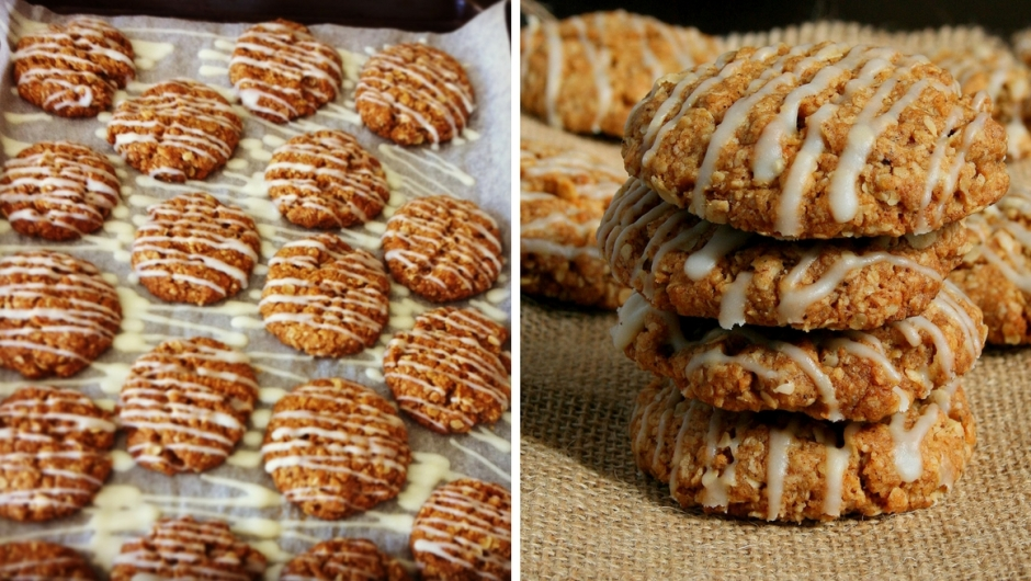 Pumpkin spice cookies with white chocolate.