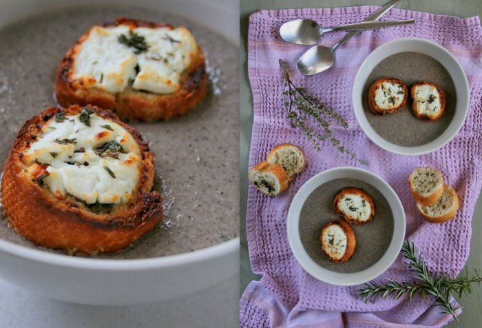 Mushroom soup with chevin toasts.