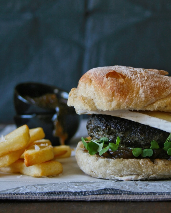Beef and mushroom burger on ciabatta with brie