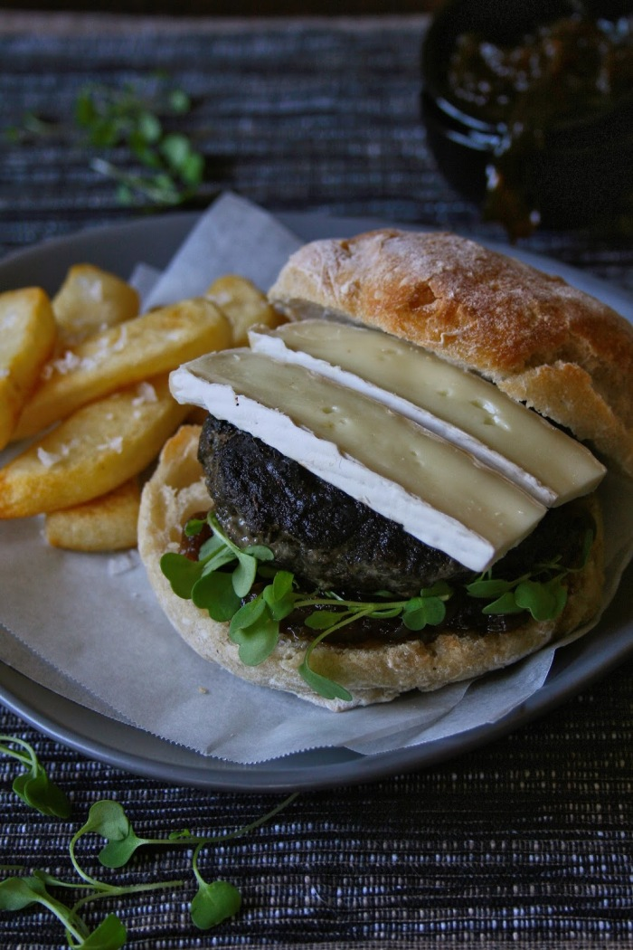Beef and portabellini mushroom burger with potato wedges