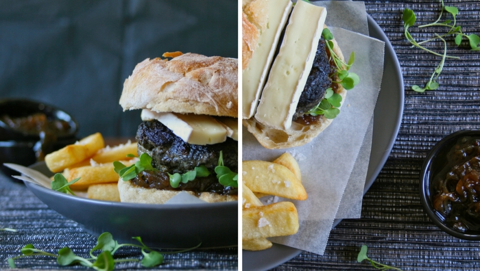 Beef and portabellini burgers with brie.