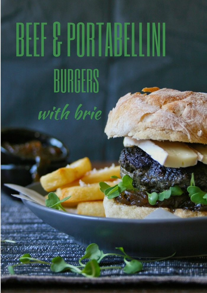 Beef and portabellini mushroom burgers with brie cheese