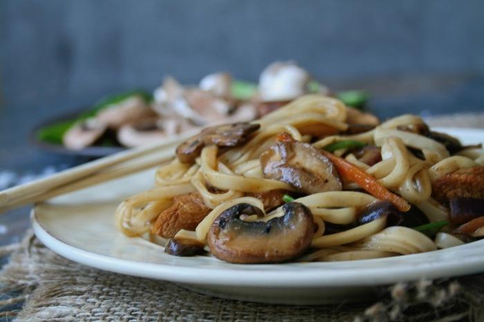 Chicken, mushroom and ginger stir fry.