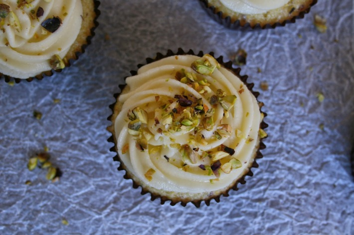 Light lemon and pistachio cupcakes.