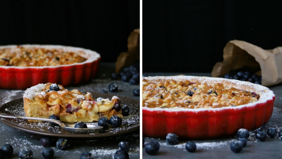 Apple tart recipe with caramel and blueberries.