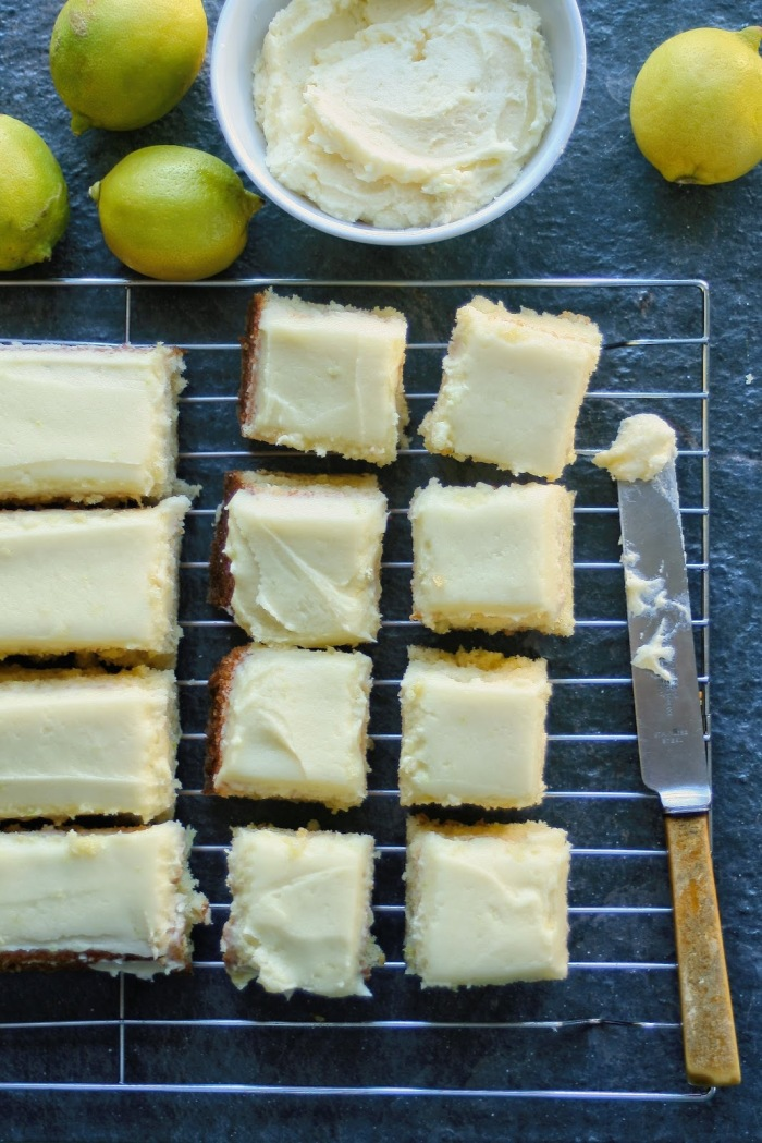 Light lemon cake with lemon butter icing.