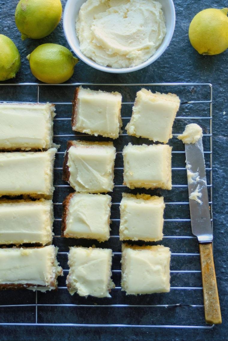 Light lemon cake with lemon butter icing.