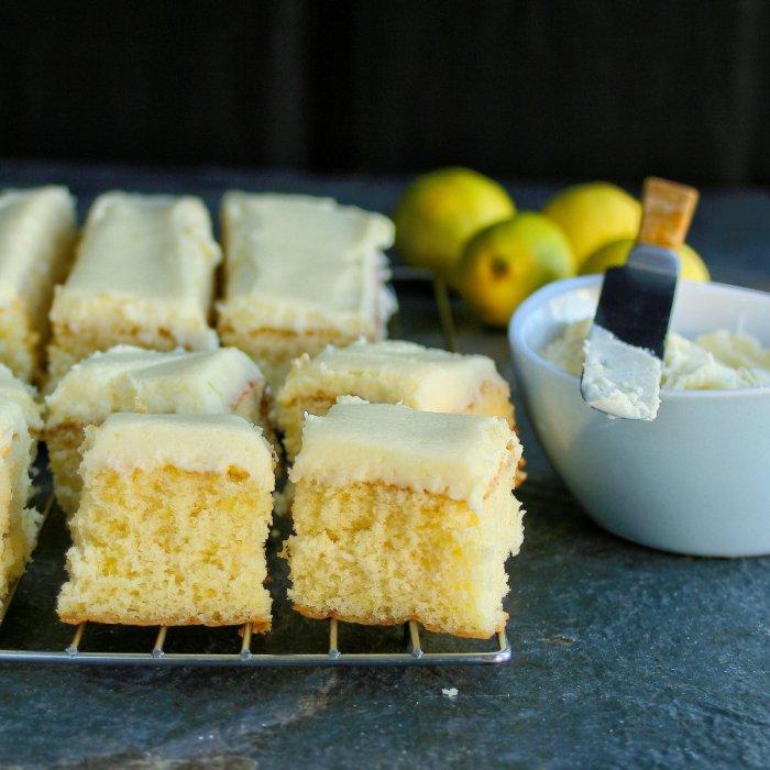 Delicious lemon cake squares.