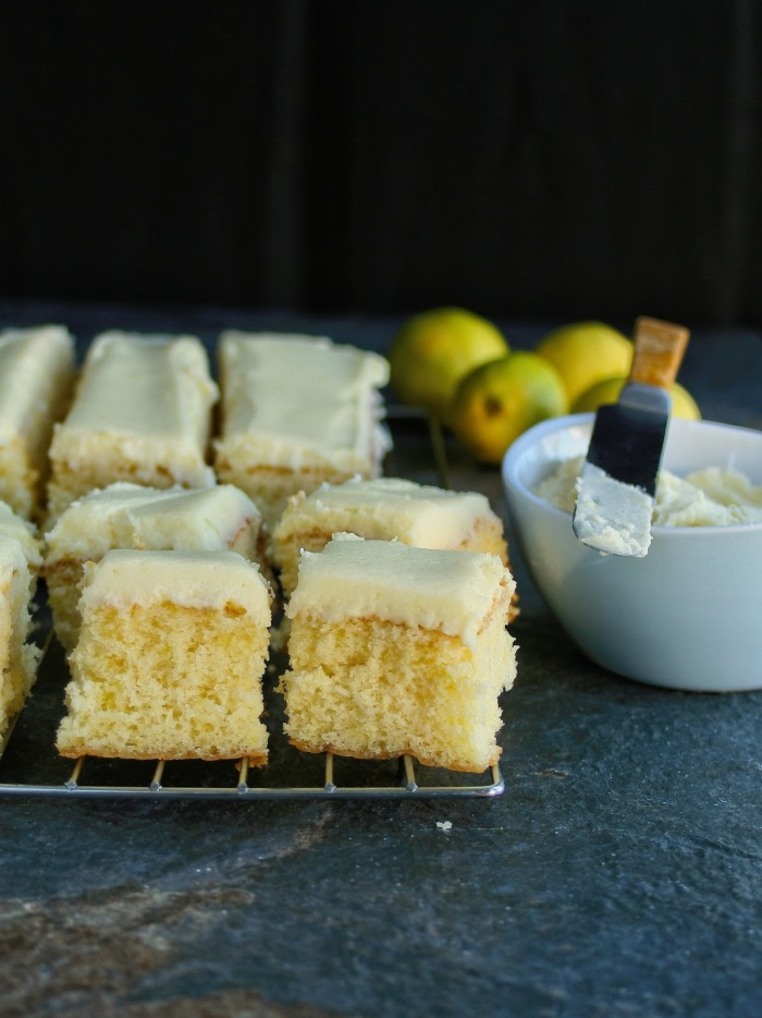 Lemon cake with lemon zest and lemon butter icing.