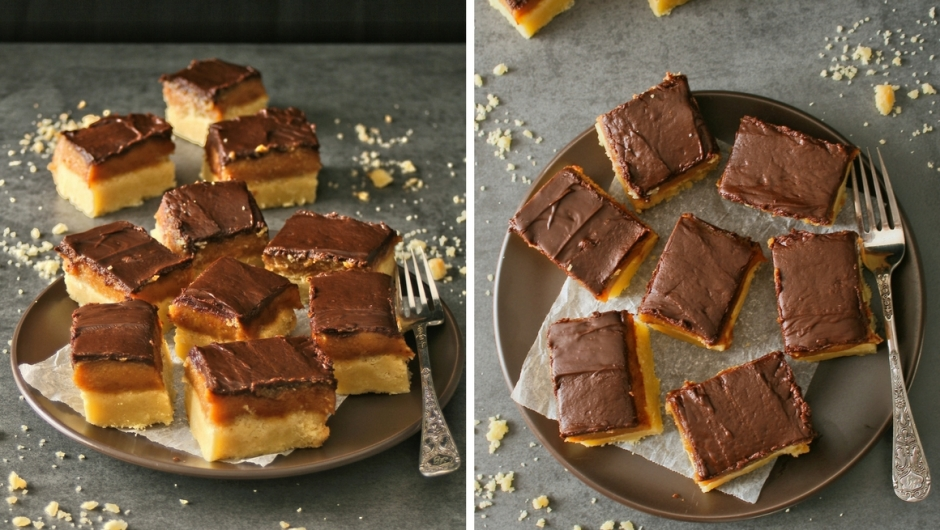 Millionaires shortbread with ganache topping.