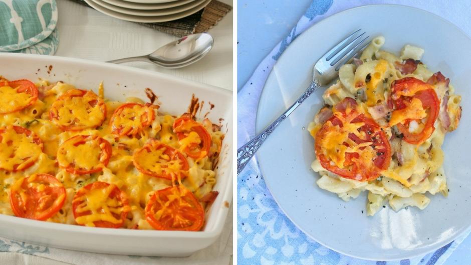 Macaroni cheese recipe with bacon
