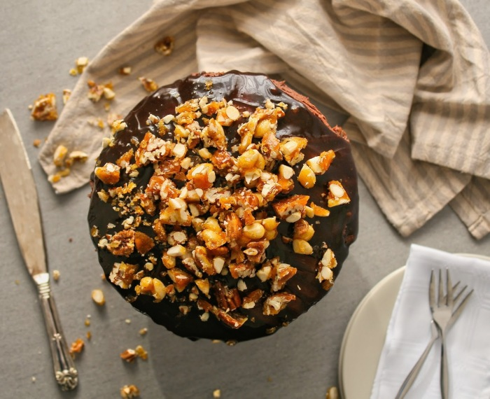 Chocolate nut brittle cake.