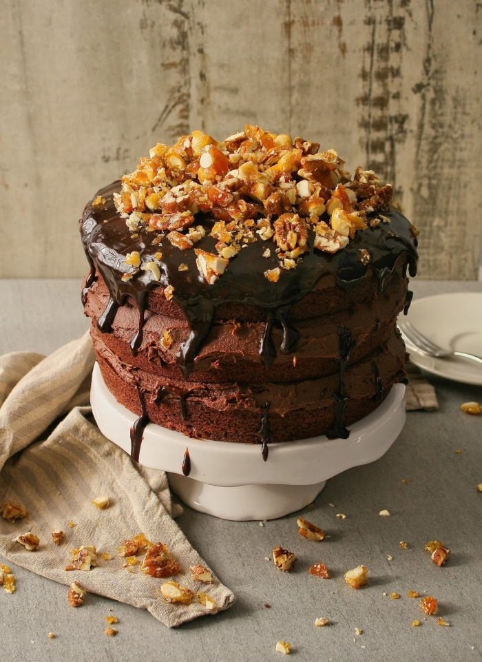 Chocolate cake with chocolate icing and nut brittle.
