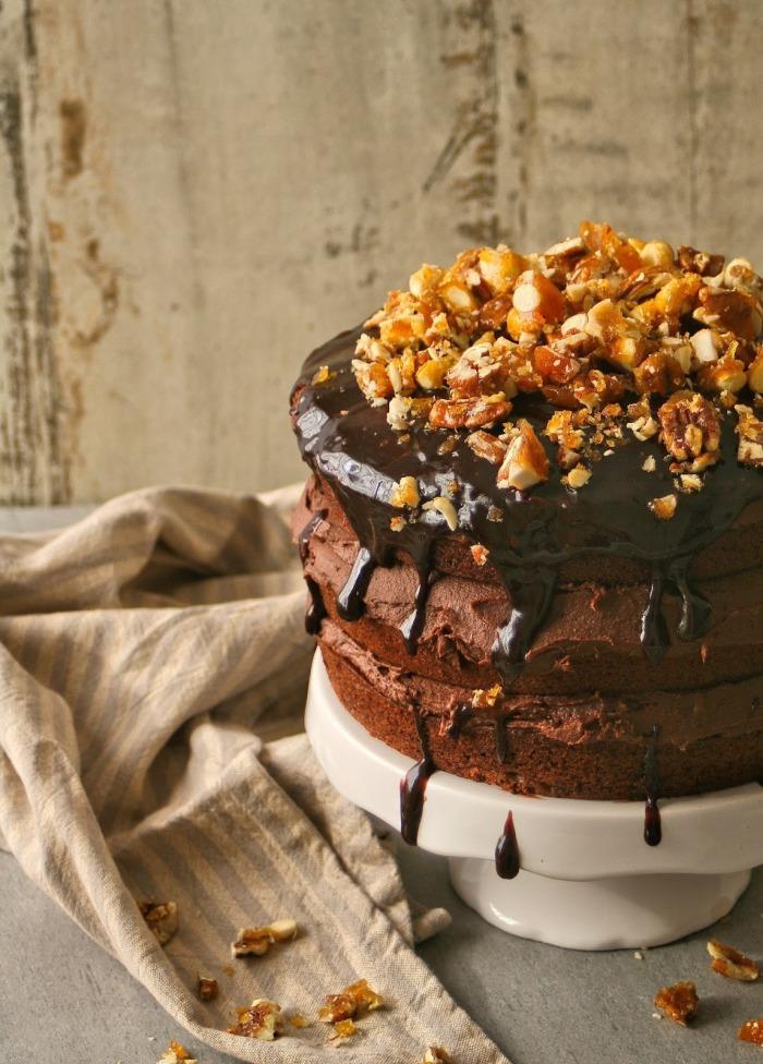 Vegan chocolate cake with vegan buttercream icing.