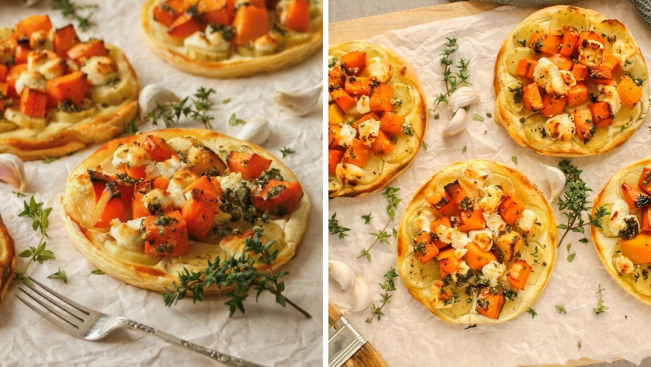 Sweet potato and butternut puff pastry tarts.