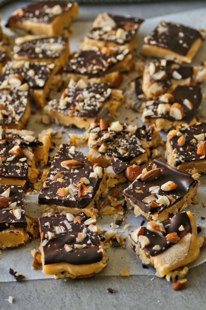 Almond and pecan fudge topped with dark chocolate.