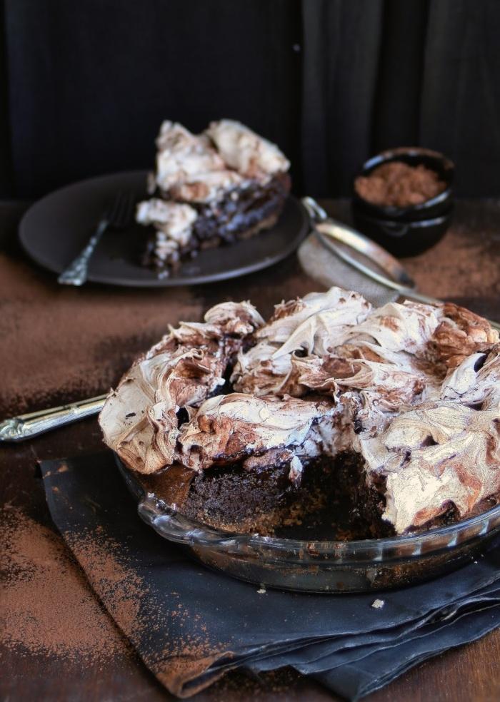 A slice of chocolate meringue pie.