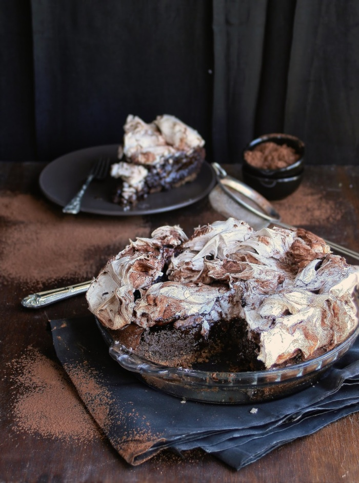 Chocolate meringue pie dessert.