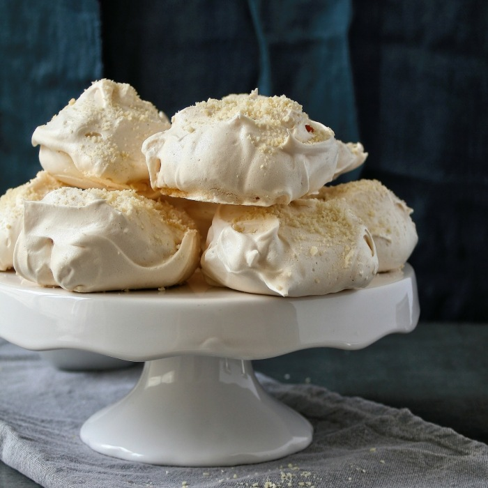 Vanilla bean meringues with ground almonds.