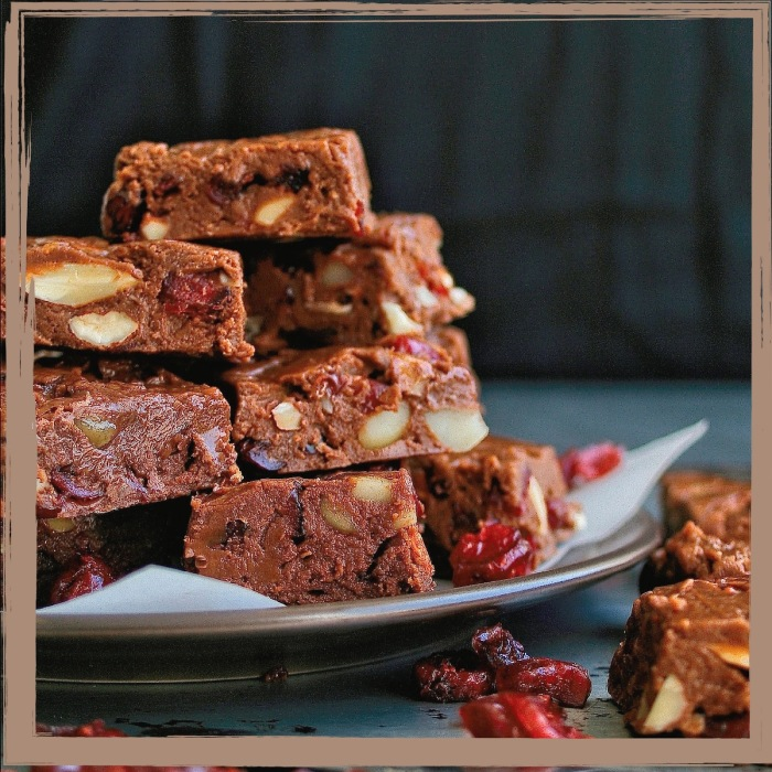 Fruit and nut chocolate fudge.
