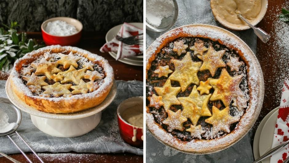 Mince pie tart with Christmas custard