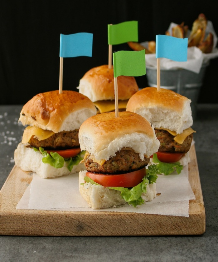 Healthy beef sliders with hidden veggies.