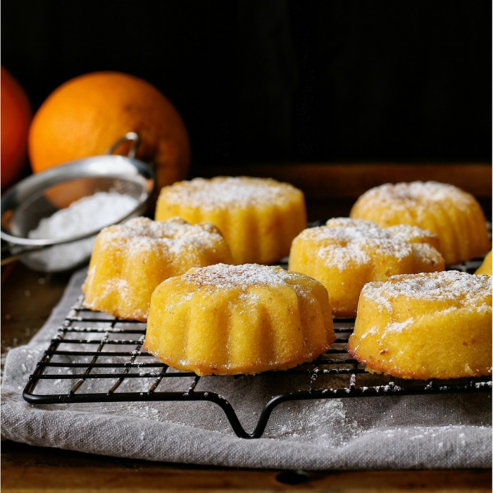 Semolina, coconut and marmalade cakes dusted with icing sugar.
