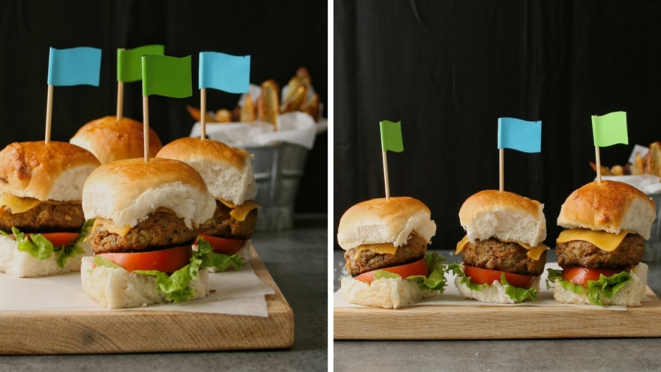 Beef and vegetable sliders recipe.