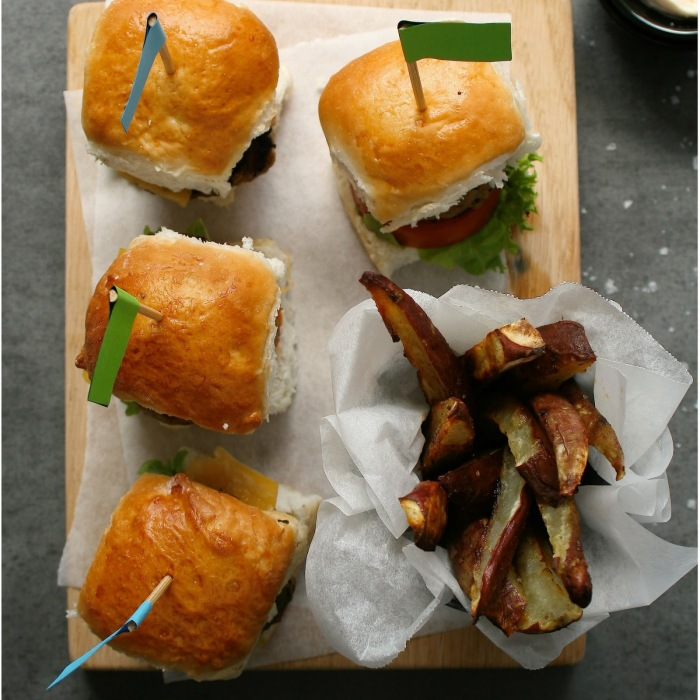 Beef sliders with sweet potato fries.