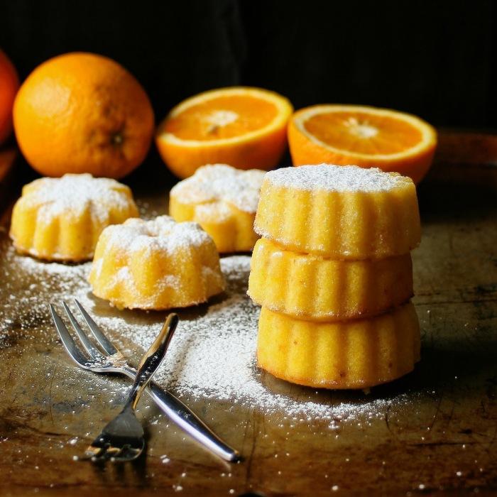 Tower of mini marmalade cakes.