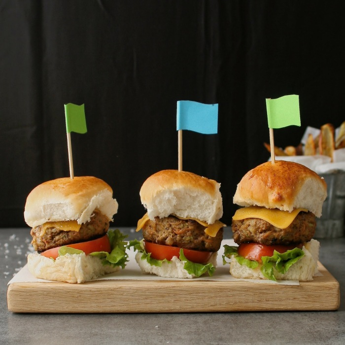 Beef sliders with hidden vegetables.