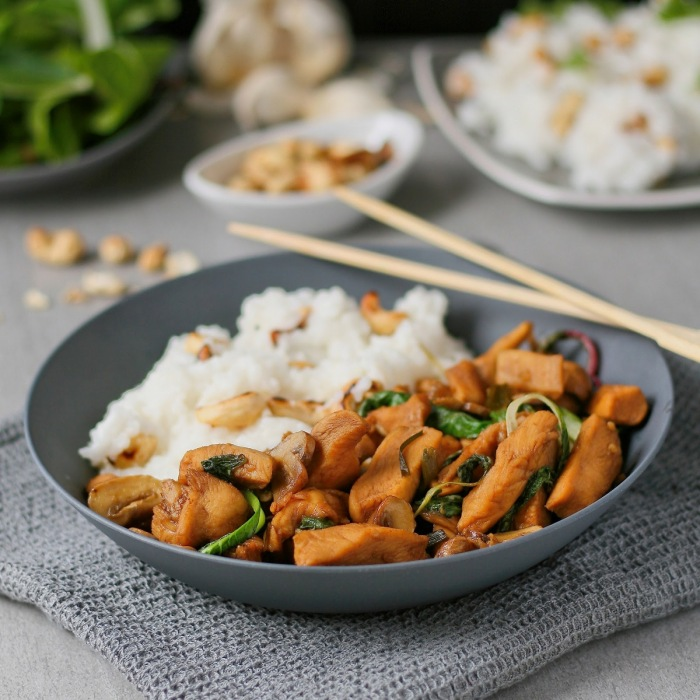 Chicken stir fry with jasmine rice