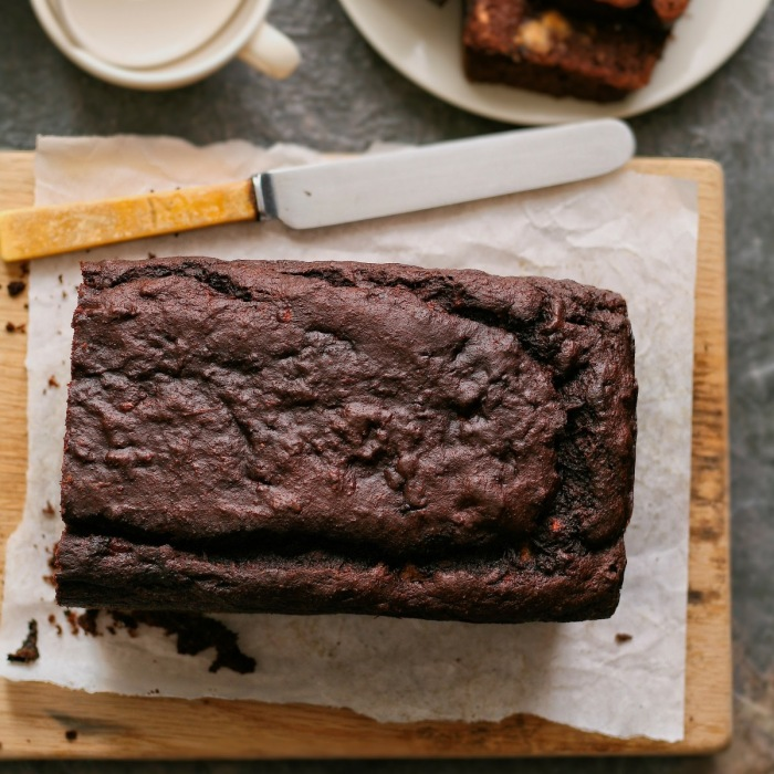 Refined sugar free chocolate banana bread.