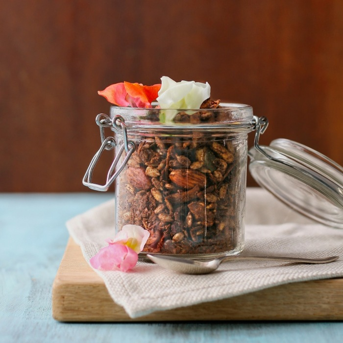 A jar of sugar free breakfast cereal with edible flowers