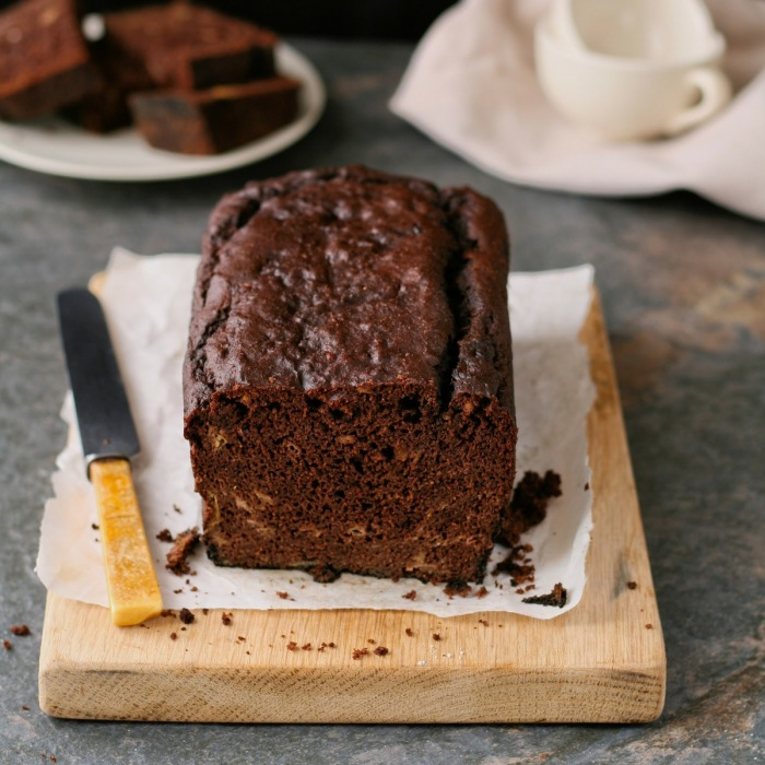 Gluten free and paleo chocolate banana bread.