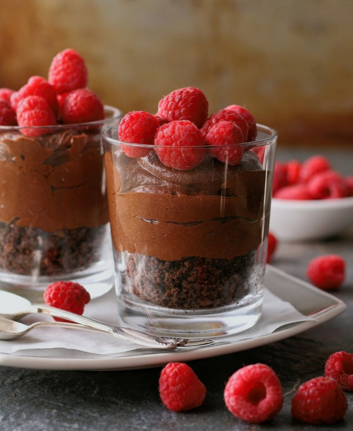 Chocolate mousse with biscuit base, kahlua and raspberries.