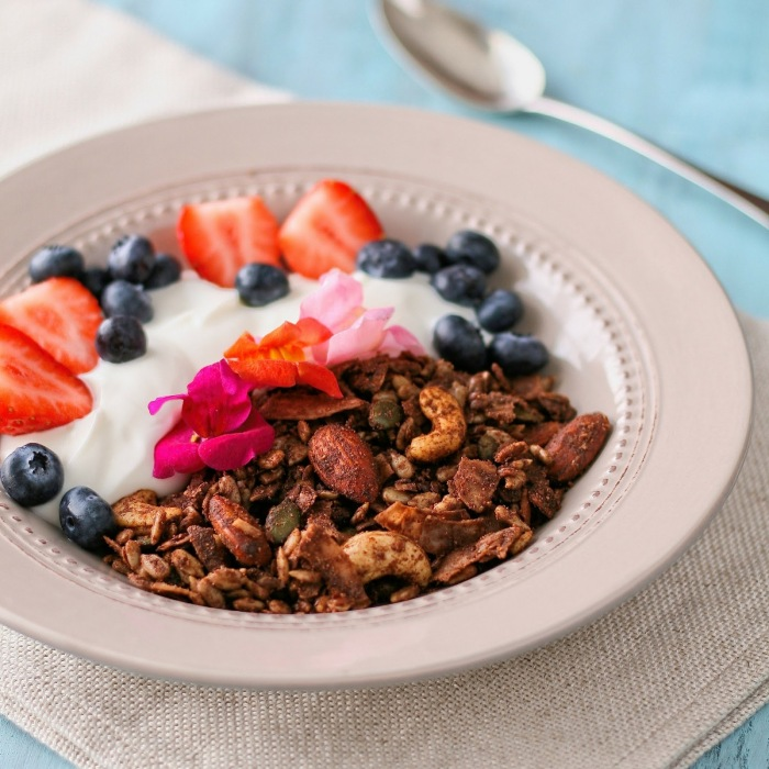 Sugar free chocolate granola with fresh fruit