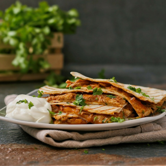 Spicy chicken quesadillas.